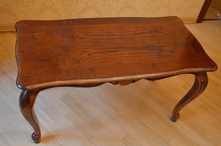 реставрация журнального стола, удаления пятен от горячего, восстановление фактуры дерева, покрытие лаком