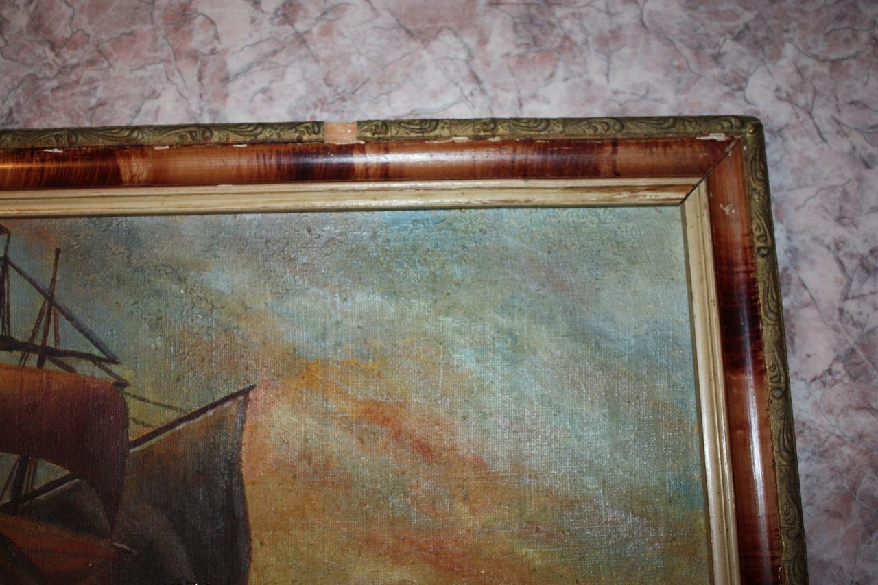 Восстановление (реставрация) старинной картинной рамы и обновление картинного полотна в реставрационной мастерской RESTORER.EXPERT