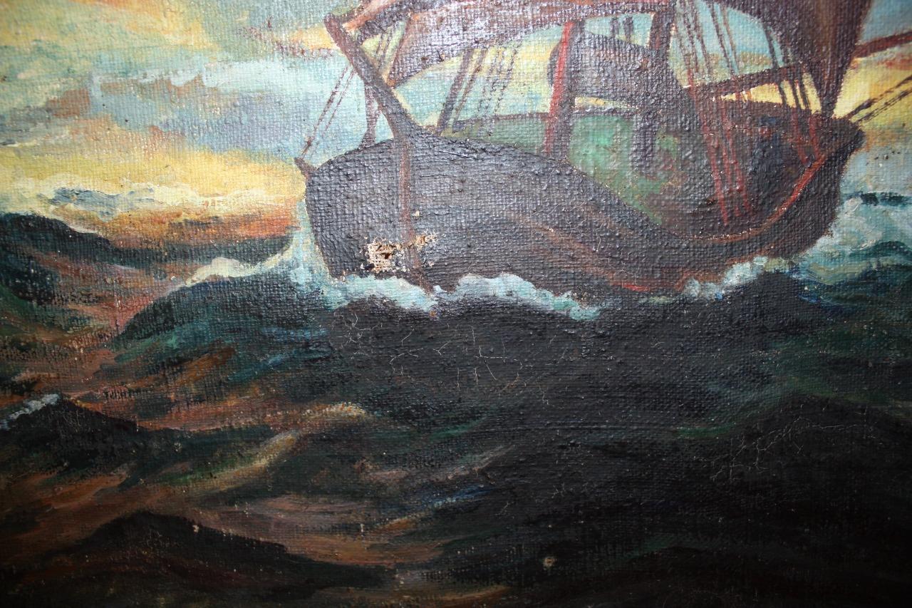 Восстановление реставрация старинной картинной рамы и обновление картинного полотна в реставрационной мастерской RESTORER.EXPERT